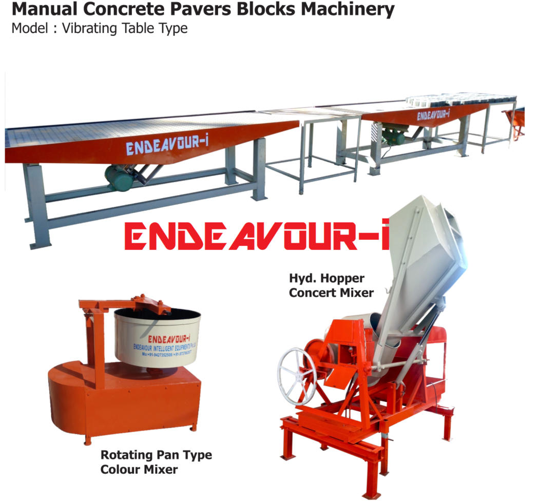 VIBRATING TABLE TYPE manual concrete block making machine